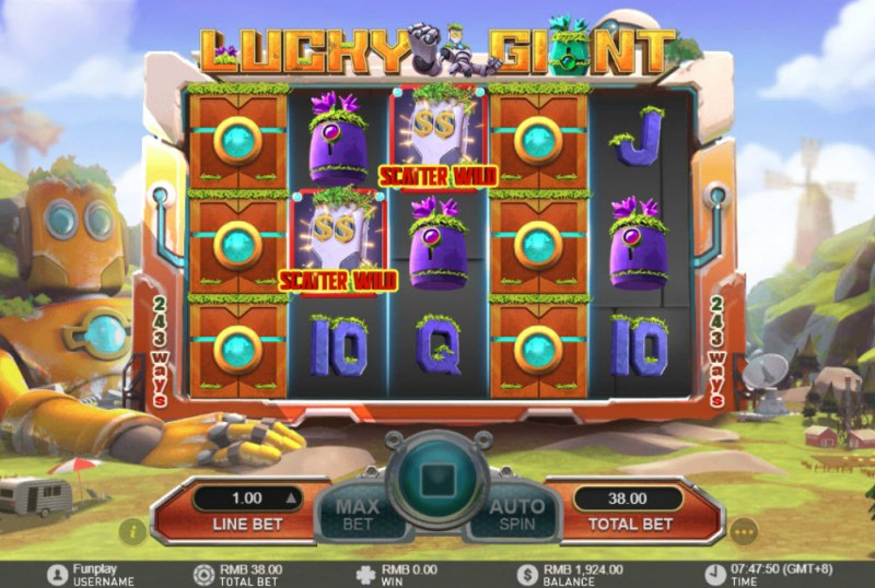 Lucky Giant :: Landing mystery symbols on the reels change into randomly selected symbol