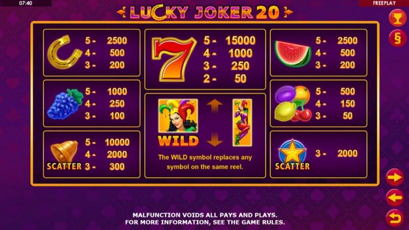 Lucky Joker 20 :: Paytable