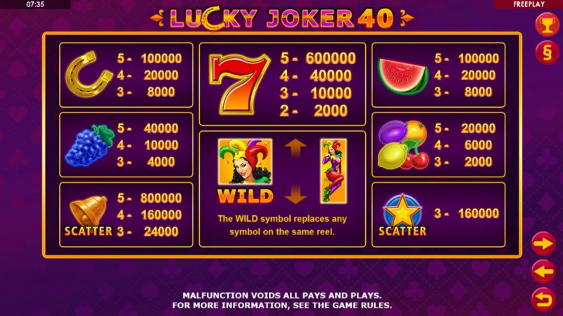 Lucky Joker 40 :: Paytable
