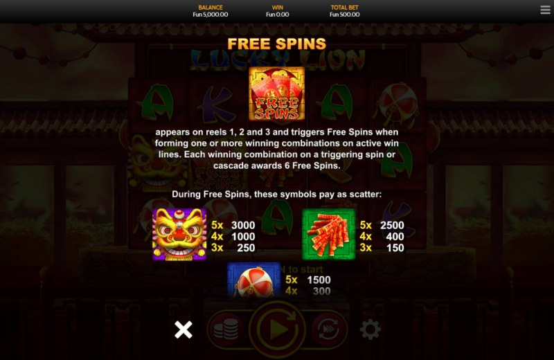 Lucky Lion :: Free Spins Rules