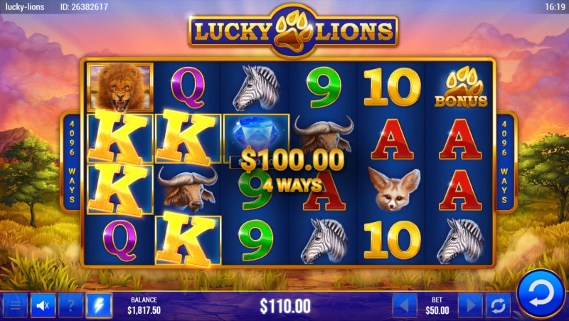 Lucky Lions :: 4 Way Win