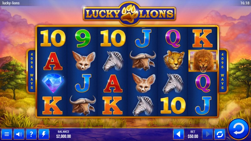 Lucky Lions :: Base Game Screen
