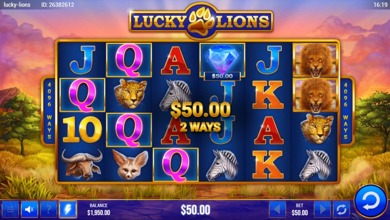 Lucky Lions :: A three of a kind win