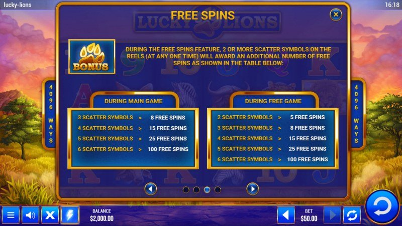 Lucky Lions :: Free Spin Feature Rules