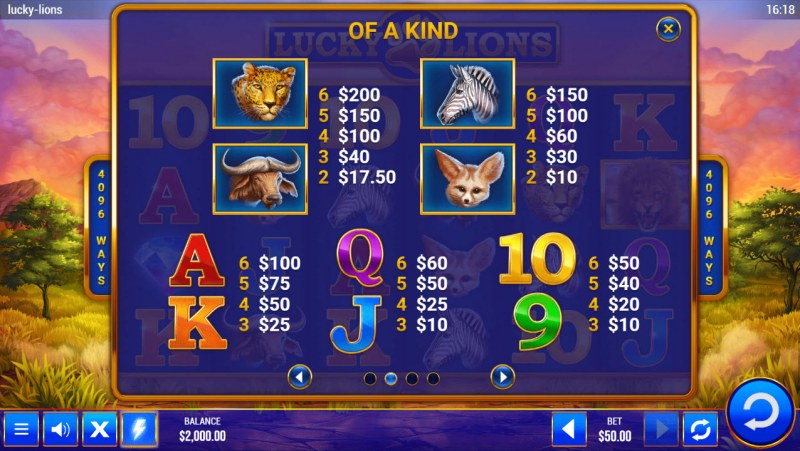 Lucky Lions :: Paytable