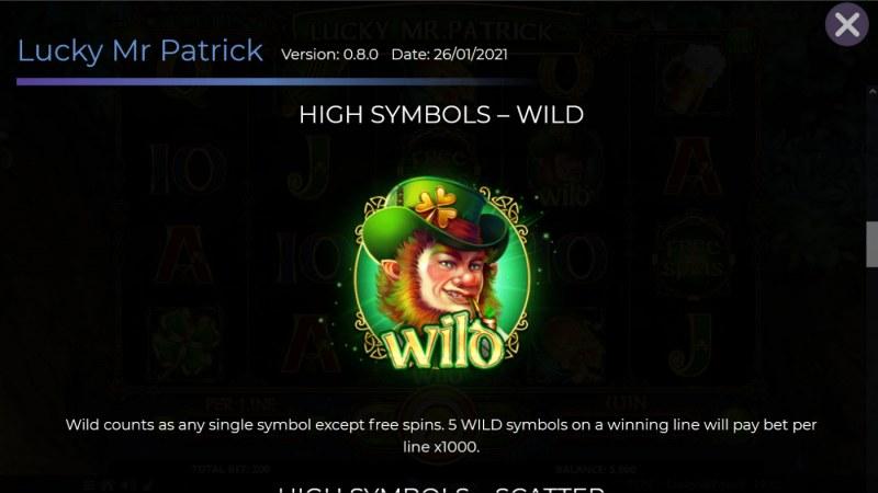 Lucky Mr. Patrick :: Wild Symbol Rules