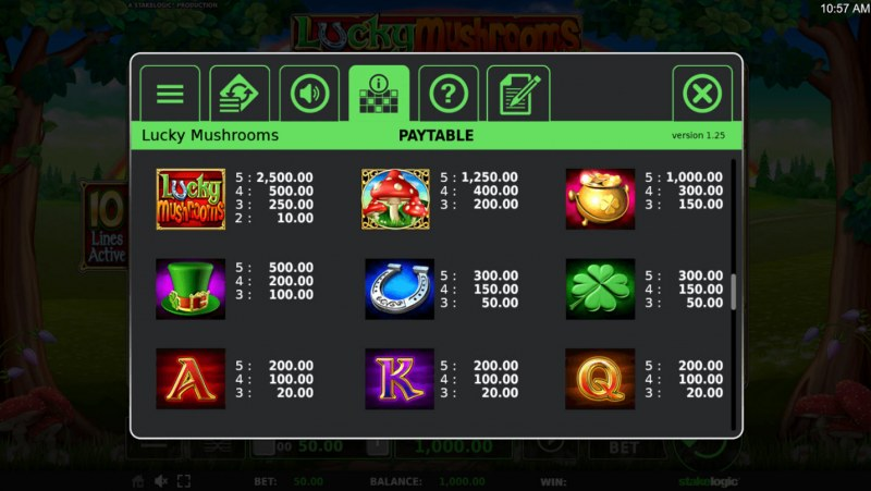 Lucky Mushrooms Deluxe :: Paytable