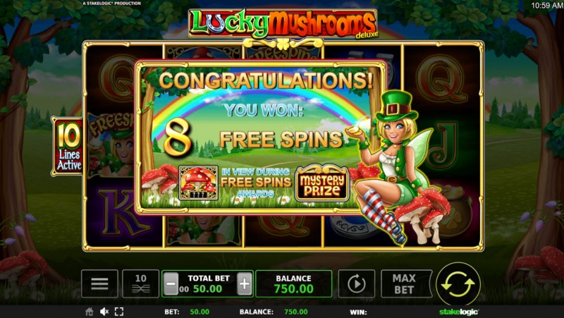 Lucky Mushrooms Deluxe :: 8 Free Spins Awarded