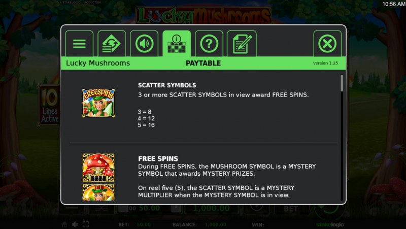 Lucky Mushrooms Deluxe :: Scatter Symbol Rules