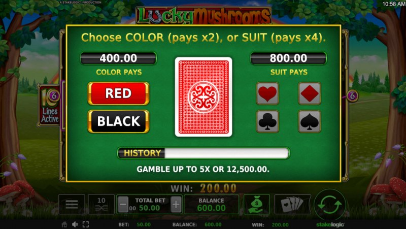 Lucky Mushrooms Deluxe :: Gamble Feature Game Board