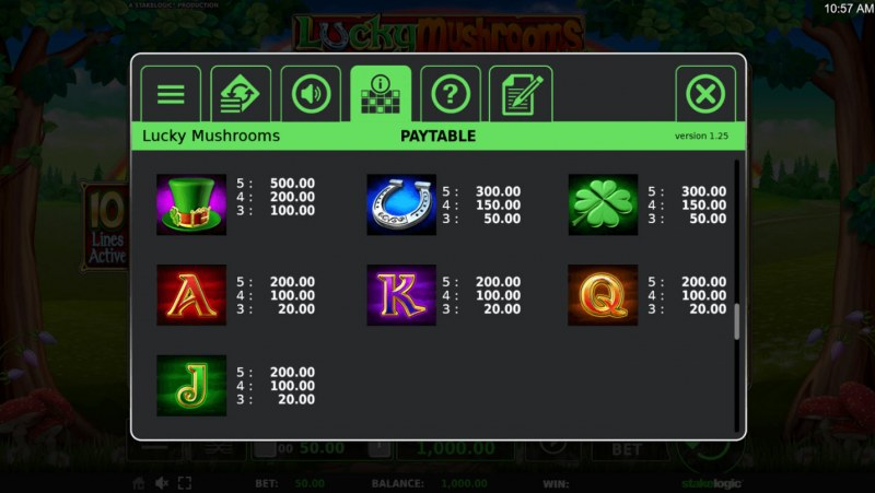 Lucky Mushrooms Deluxe :: Paytable - Low Value Symbols
