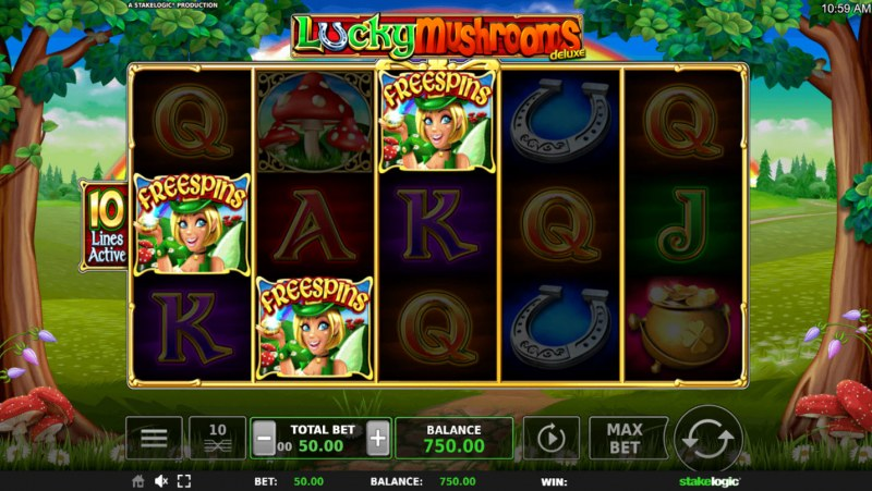 Lucky Mushrooms Deluxe :: Scatter symbols triggers the free spins feature