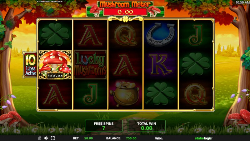 Lucky Mushrooms Deluxe :: Mushroom symbols award instant prizes during the free spins feature