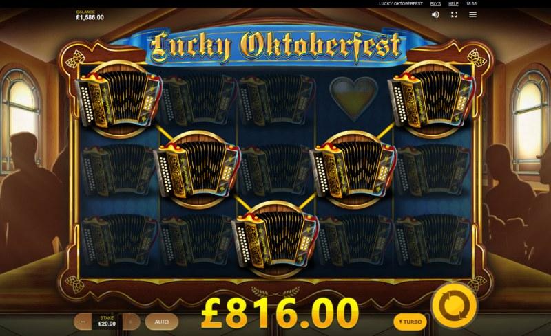 Lucky Oktoberfest :: Beer Feature triggers multiple winning paylines