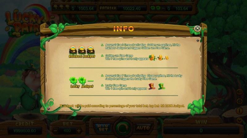 Lucky Patrick :: Jackpot Rules