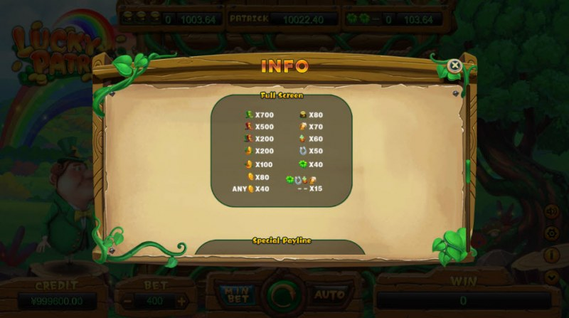 Lucky Patrick :: Full Screen Paytable