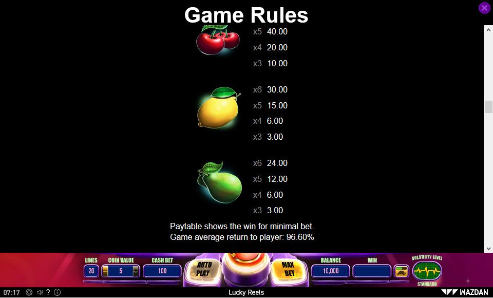 Lucky Reels :: Paytable - Low Value Symbols
