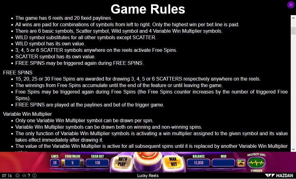 Lucky Reels :: General Game Rules