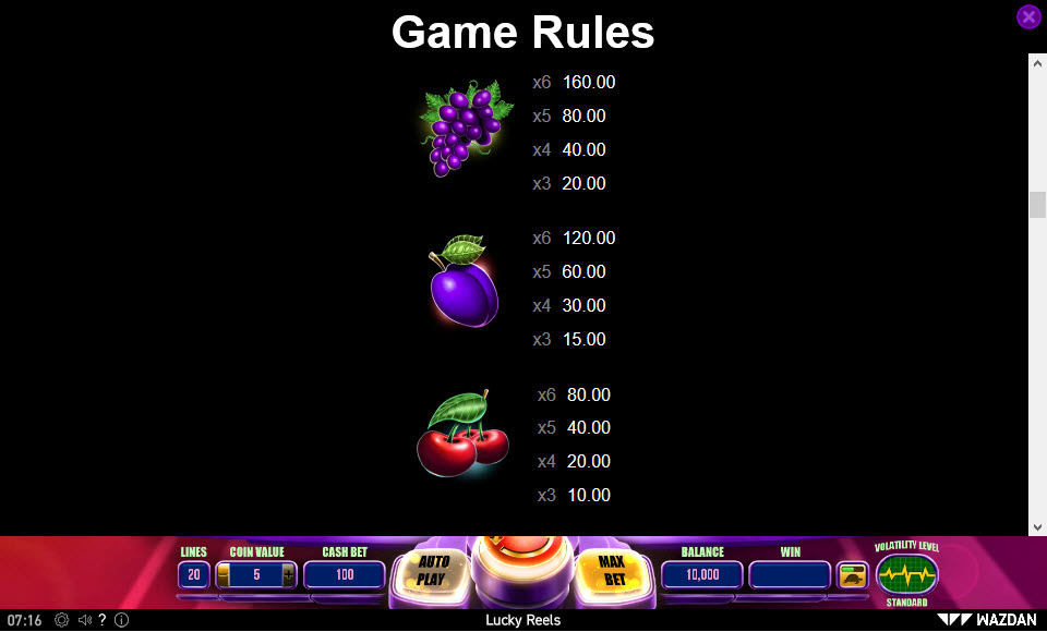 Lucky Reels :: Paytable - Medium Value Symbols