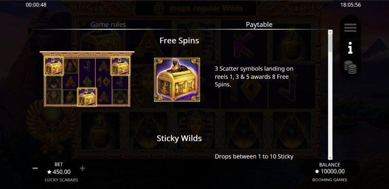 Lucky Scarabs :: Free Spin Feature Rules