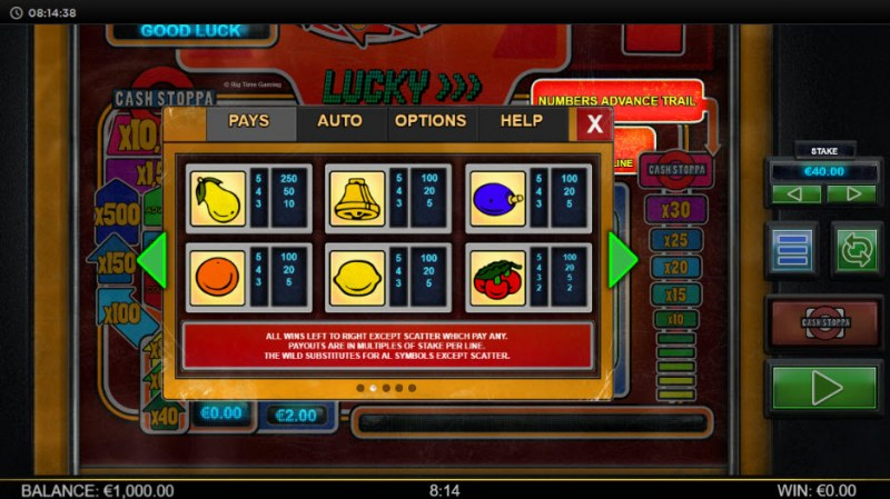 Lucky Streak Mk2 :: Paytable - Low Value Symbols
