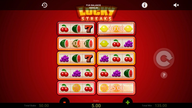 Lucky Streaks :: Seven consecutive wins triggers the jackpot mode