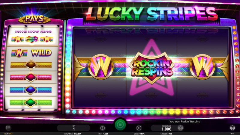 Lucky Stripes :: Rockin Respins feature triggered