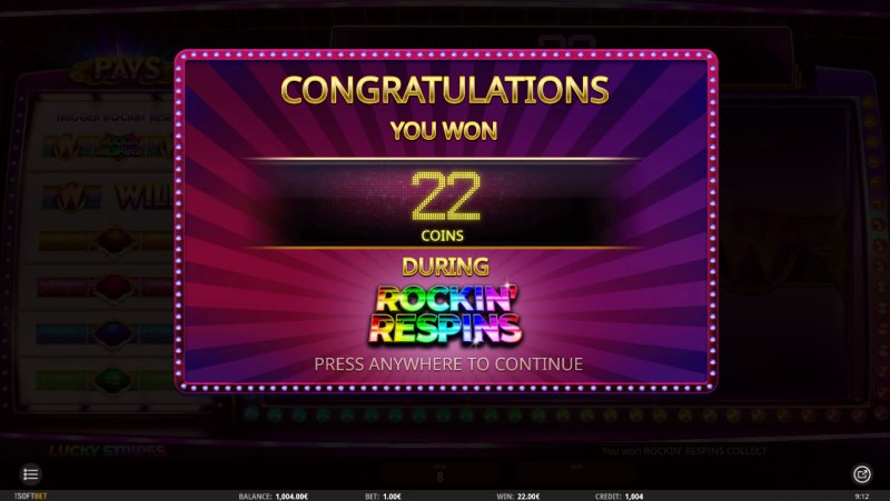 Lucky Stripes :: Total Respins payout
