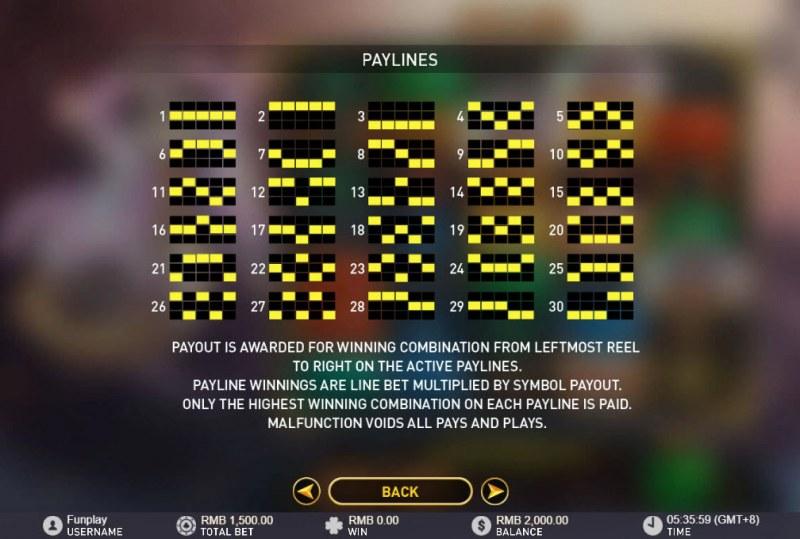Lucky Tarot :: Paylines 1-30