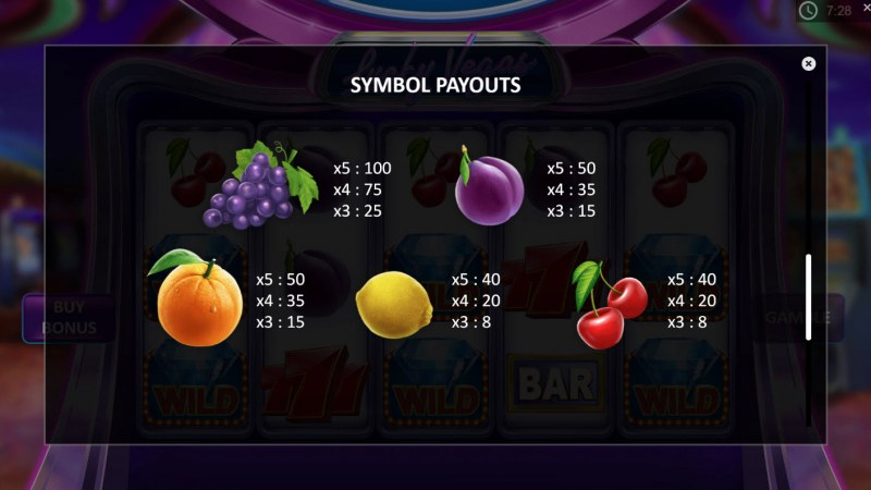 Lucky Vegas :: Paytable - Low Value Symbols