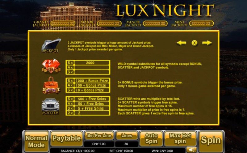 Lux Night :: Bonus, Jackpot, Scatter and Wild Rules