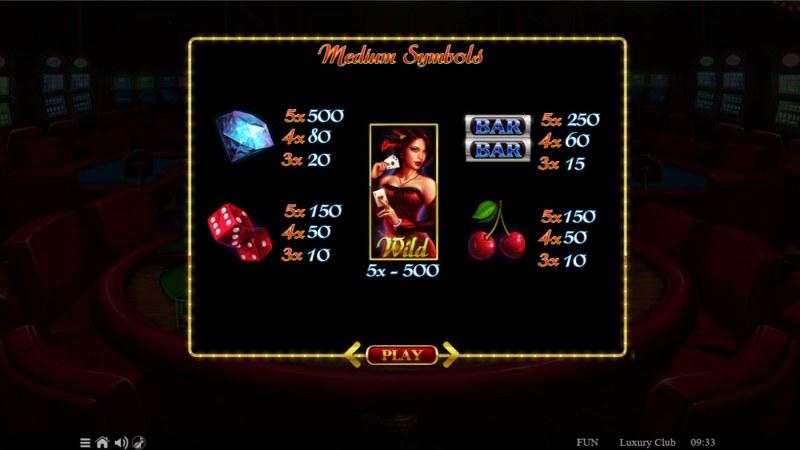 Luxury Club :: Paytable - High Value Symbols