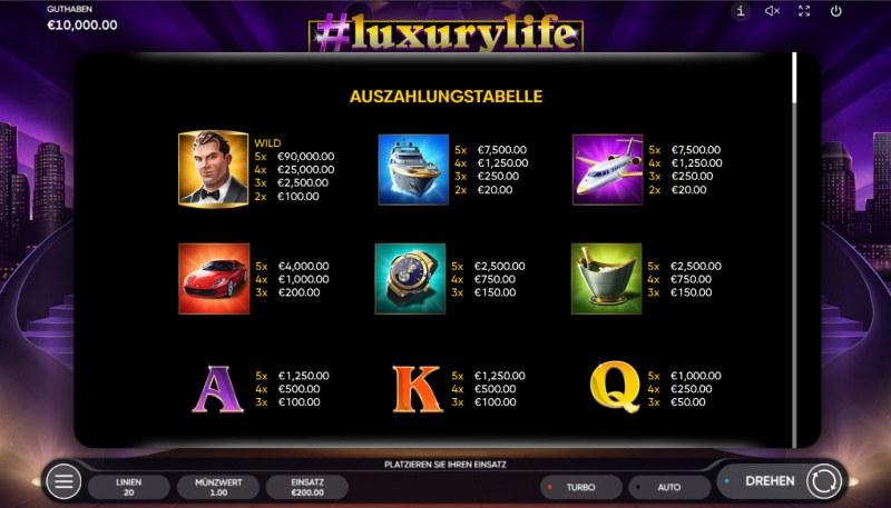 #luxurylife :: Paytable - High Value Symbols