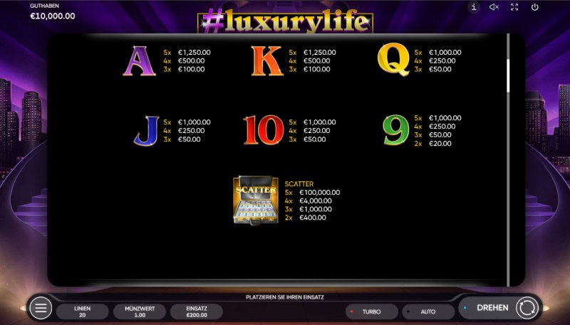 #luxurylife :: Paytable - Low Value Symbols
