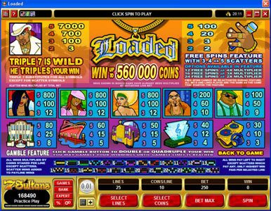 Jackpot Paradise featuring the Video Slots Loaded with a maximum payout of $420,000