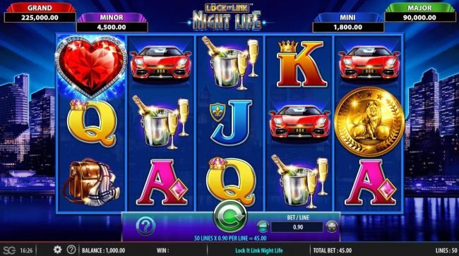 Lock it Link Night Life :: Main game board featuring five reels and 50 paylines with a $250,000 max payout.