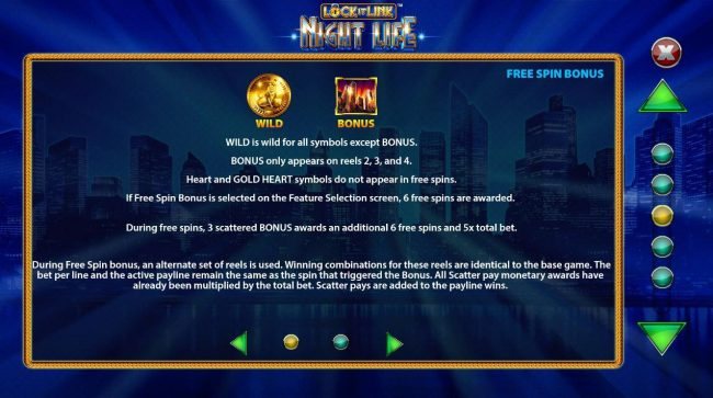 Lock it Link Night Life :: Wild and Scatter Symbols Rules and Pays