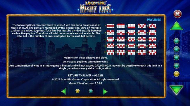 Lock it Link Night Life :: Paylines 1-25