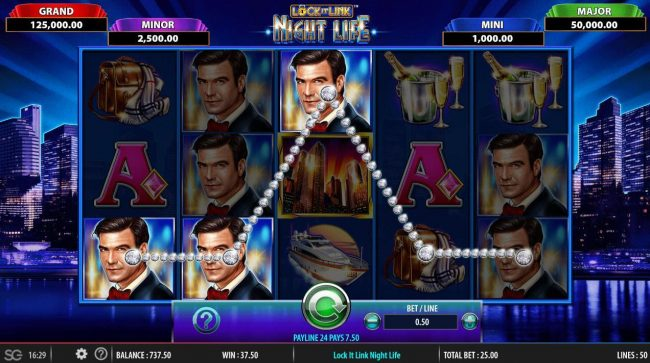 Lock it Link Night Life :: Multiple winning paylines