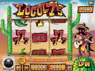 Loco 7's :: Main game board featuring three reels and 1 payline with a $75,000 max payout