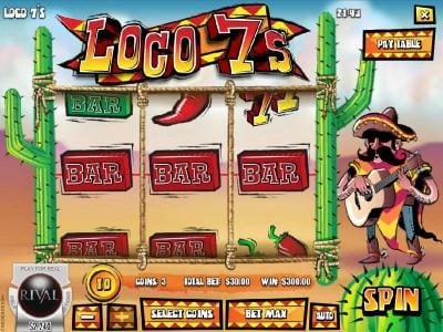 Loco 7's :: Three bar symbols triggers a $300 big win!