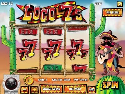 Loco 7's :: A three of a kind triggers a $240.00 line pay
