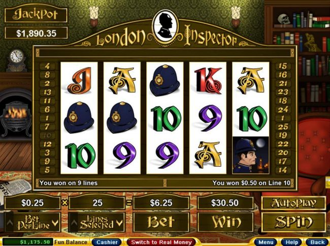 Royal Ace featuring the Video Slots London Inspector with a maximum payout of $250,000