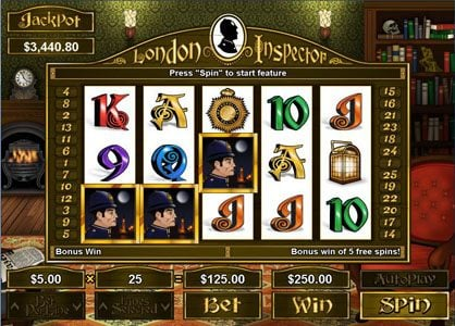 Planet7 Oz featuring the Video Slots London Inspector with a maximum payout of $250,000