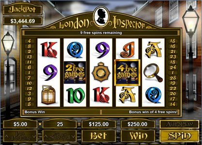Slotastic featuring the Video Slots London Inspector with a maximum payout of $250,000