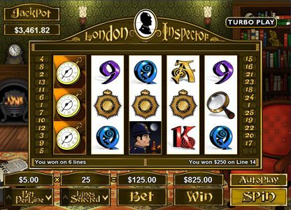 Cherry Jackpot featuring the Video Slots London Inspector with a maximum payout of $250,000