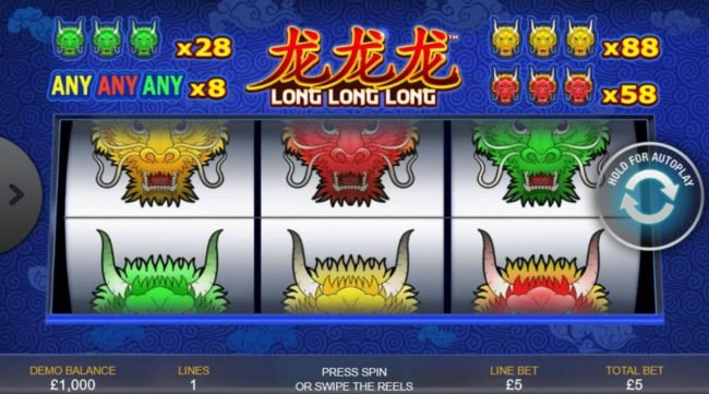A Chinese dragon themed main game board featuring three reels and 1 payline with a $440 max payout