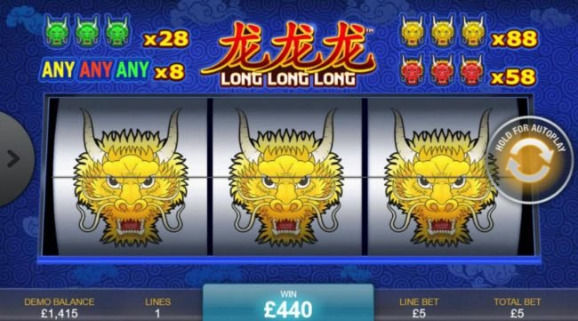 Long Long Long :: Landing three yellow dragons will award the top prize of 88x your line stake.