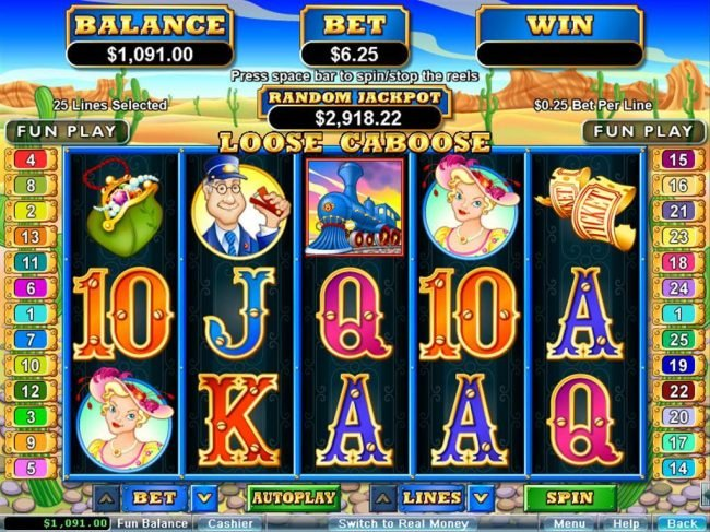 Kudos featuring the Video Slots Loose Caboose with a maximum payout of $250,000