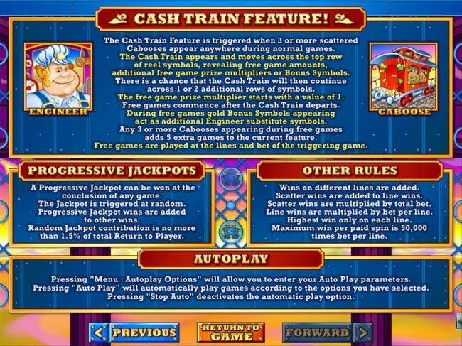 Cash Train Feature, Progressive Jackpots and General Game rules